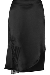 Maiyet Asymmetric Organza Trimmed Silk Satin Skirt Black