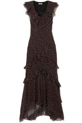 Michael Kors Collection Woman Ruffled Floral Print Silk Georgette Maxi Dress Black