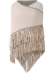 Antonia Zander Fringed Cape Nude And Neutrals