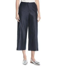 Emporio Armani Wide Leg Crop Pants Blue