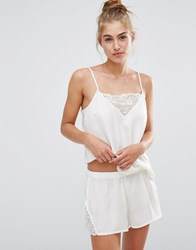 Monki Lace Insert Cami And Shorts Pyjama Set Almost White