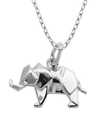 Lord And Taylor Rhodium Plated Sterling Silver Origami Elephant Pendant Necklace