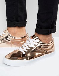 Asos Lace Up Trainers In Metallic Copper Gold Copper