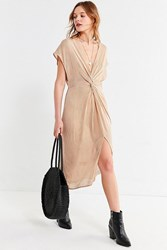 41703fa8ee Urban Outfitters Uo Twist Front Striped Midi Dress Yellow
