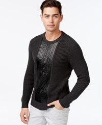 Inc International Concepts Crew Neck Faux Leather Cable Knit Sweater Only At Macy's Charcoal Heather
