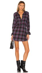 1.State 1. State Button Up Plaid Dress In Blue Pink. Blue Night