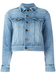 Saint Laurent Love Patch Cropped Denim Jacket Blue