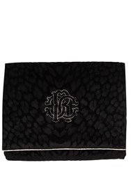 Roberto Cavalli Monogram Cotton Velvet Throw Black