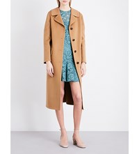 Valentino Single Breasted Wool And Cashmere Blend Coat Dk Camel