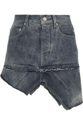 Rick Owens Woman Asymmetric Distressed Denim Mini Skirt Dark Denim