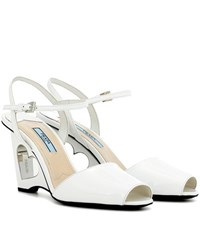 Prada Patent Leather Wedge Sandals White