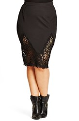 City Chic Plus Size Women's 'Lace Affair' Pencil Skirt