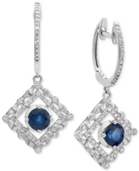 Macy's Sapphire 1 Ct. T.W. And Diamond 1 4 Ct. T.W. Earrings In 14K White Gold Blue