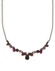 Marchesa Glass Stone Frontal Necklace Red Multi
