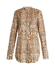 Adam By Adam Lippes Stand Collar Leopard Print Cotton Shirt Animal