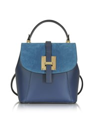 Le Parmentier Handbags Palazia Midnight Blue Suede And Leather Small Backpack