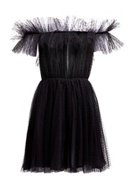 Giambattista Valli Ruffle Polka Dot Tulle Dress Black