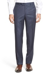 Men's Nordstrom Men's Shop Flat Front Sharkskin Wool Trousers Mid Blue