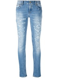 Cycle Distressed Skinny Jeans Women Cotton Spandex Elastane 27 Blue
