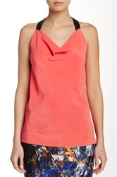 Yigal Azrouel Faux Leather Trim Silk Halter Tank Pink