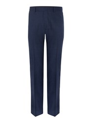 New And Lingwood Hull Herringbone Flannel Trousers Blue