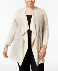 Jm Collection Plus Size Sheer Open Front Cardigan Only At Macy's Stone