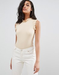 Vero Moda Sleeveless Body With Ruffle Detail Ivory Cream