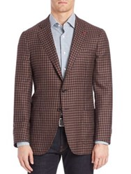 Isaia Checked Sportcoat Dark Brown
