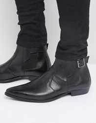 Asos Chelsea Boots In Black Leather With Buckle Detail Black
