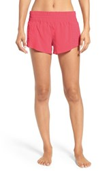 Zella Women's Daylight Perforated Shorts Coral Poppy