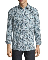 Duchamp Floral Watercolor Sport Shirt Blue