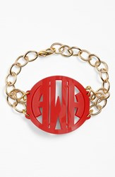 Women's Moon And Lola 'Annabel' Large Personalized Monogram Bracelet Ruby Gold