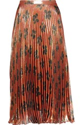 Suno Pleated Metallic Printed Silk Blend Midi Skirt Multi