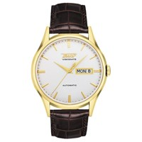 Tissot T0194303603101 Men's Visodate Automatic Day Date Leather Strap Watch Brown White