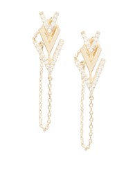 Bcbgmaxazria Stone Chevron Chain Earrings Gold