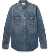 Saint Laurent Slim Fit Washed Denim Western Shirt Blue