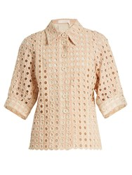 Chloe Embroidered Eyelet Cotton Blend Shirt Light Pink