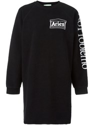 Aries Oversized Sweatshirt Dress Black