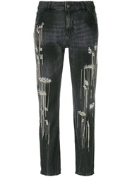 Amen Bead And Stitch Detail Jeans Cotton Polyester Metal Grey