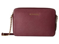 Michael Michael Kors Jet Set Travel Lg Ew Crossbody Plum Cross Body Handbags Purple