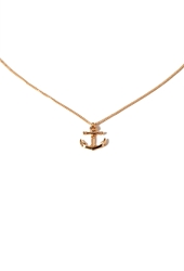 Forever 21 Anchor Charm Necklace Gold
