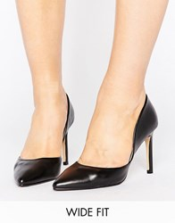 Lost Ink Wide Fit Cut Out Black Court Shoes Black