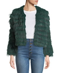 Alice Olivia Fawn Chevron Fur Jacket Forest