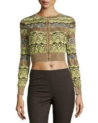 M Missoni Button Down Cropped Sweater Gold