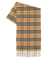 Burberry Vintage Check Cashmere Scarf Antique Yellow