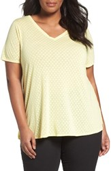 Sejour Plus Size Women's Polka Dot Tee Yellow Burnout