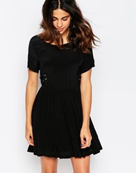 Goldie Driven Oversized Dress With Lace Up Detail Black