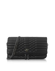 Zadig And Voltaire Black Quilted Leather Foldable Rock Mat Clutch