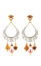 Rodarte Nickel Crescent Earrings With Amber Amethyst And Ruby Glass Cabochons Silver