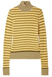 78605683a275 Carven Wool Blend Jacquard Turtleneck Sweater Yellow